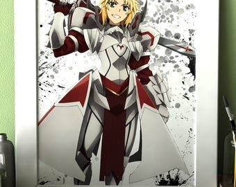 Mordred Fate Apocrypha Anime Manga Game Watercolor professional quality print poster Art Wall no.186