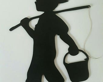 a fishing dad! wooden figure