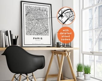 Paris Map, Paris City Map, Paris Print, Paris Map Print, Map Of Paris, Paris France, Paris Map Poster, Paris Wall Art, Paris Printable Art