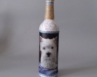 Westie Dog Decorated Bottle
