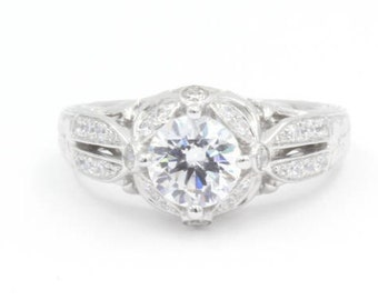 1.25 ct Round Cut CZ Engagement Ring, Size 6.5, 925 Sterling Silver, Pave w/ Accent and Decorative Band (792)