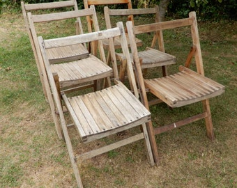 6 Vintage Folding Wooden Village Hall Garden Chairs