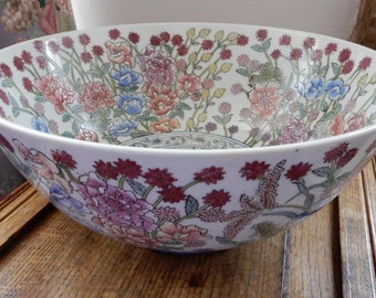 Very Large, Hand Painted Floral Chinese Export Decorative Bowl