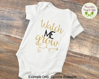 Watch Me Grow Infant Bodysuit Short Sleeve or Long Sleeve * FREE US SHIPPING * , unisex baby, baby clothing, unisex infant, unisex bodysuit