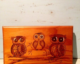 Owl Wood Burning Wall Art | Owl Wall Art |  Retro Owl Picture