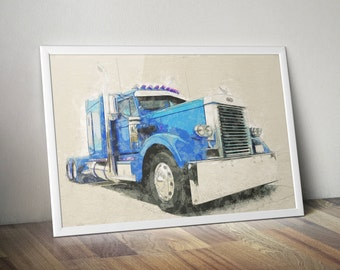 Watercolor Digital Art, Digital Painting, PETERBILT Truck, Truck Download, Watercolor Truck, 18 Wheels Truck, Truck Printable Poster