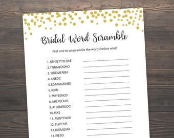 Bridal Word Scramble, Bridal Shower Games, Unscramble Shower Game, Gold Bridal Shower, Gold Confetti, Wedding Shower, Games Printable, J001