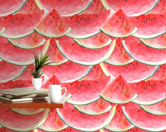 Watermelon Temporary Wallpaper Colorful Self adhesive Removable Wall Mural Funny Watercolor Illustration Accent Wall Covering Juicy CC051