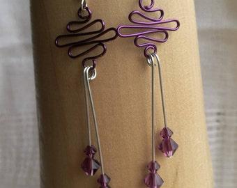 Amethyst Swarovski Crystal Earrings - ES 4