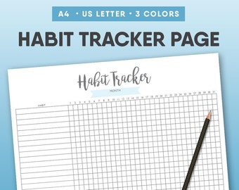 Habit Tracker Printable, Monthly Habits, Daily Habits, Habit Log, Weekly Habits, Health Habits,  Planner Inserts, Daily Habits, Goal Tracker