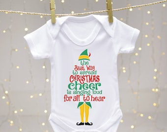 Christmas Cheer Elf body suit - Christmas Baby vest, Buddy the Elf, Baby shower gift, Christmas gift, Elf, Santa's helper, toddler body suit