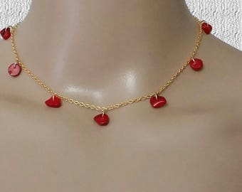Valentine's Day Gift for Her, Red Beaded Necklace, Gold filled Chain Choker for Women, Irregular Red Pearl Beaded Women Necklace, Mom Gift