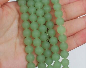 "26pcs (8mm) Opaque Seafoam Green Round Sea Glass Beads - 8"" strand - Cultured Seaglass Ocean Glass Supply"