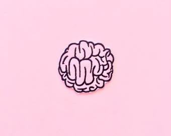 Pastel Pink Brain Iron On Patch, embroidered patch, kawaii patch, gothic patch, grunge patch, back patch, patch appliqué, pastel goth