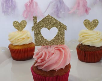 Housewarming Party Cupcake Toppers – Housewarming Decorations – Housewarming Party Decorations – Glitter Decor – Glitter Housewarming Party
