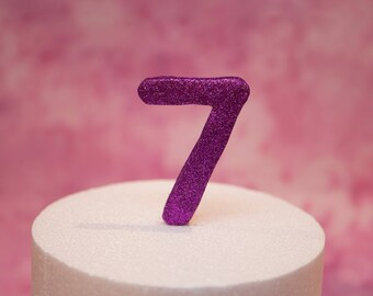 Large Pink Glitter Cake Number Topper - Birthday Cake Number Cake Topper, Fondant Number Cake Decoration with Rainbow Dust Food Safe Glitter
