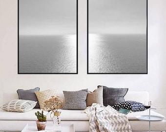 Ocean Wall Art, Black and White Seascape Print, Ocean Water, Coastal Decor, Coastal Art Download, Nautical Decor Minimalist Ocean Print