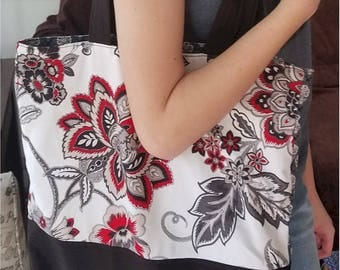 Red and Black Floral Tote