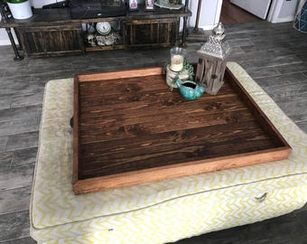 Ottoman Tray Oversized Wooden Ottoman Tray Large Wooden Ottoman Tray Coffee Table Tray Farmhouse Table Tray Wooden Serving Tray