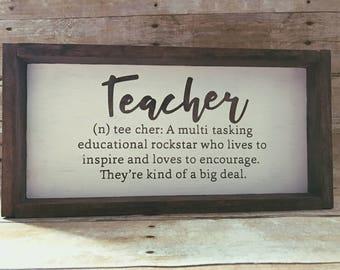Teacher Sign. Teacher Definition. Teacher Wooden Sign. Teacher Definition Wooden Sign.