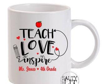 teach love inspire,teacher mug,teacher appreciation,teacher gift,gift for teacher,personalized teacher mug,teacher custom mug,mugs