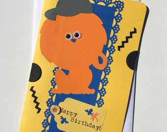 Animal Card, Lion Card, Birthday Card, Cricut Card, Card for Birthdays, Card with Lion, Large Card, Large Birthday Card, Lion Greeting Card