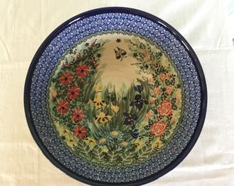 Hand-Painted - Polish Pottery Bowl- With Butterfly
