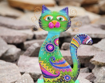 Cat Figurine; Fused Glass Cat Modern Home Decor; Hand Painted Gift; Collectible