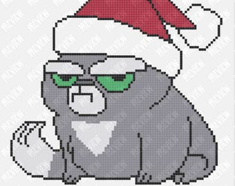 Ho Ho ... No! | Christmas Grumpy Cat | Counted Cross Stitch PDF Pattern | Instant Download