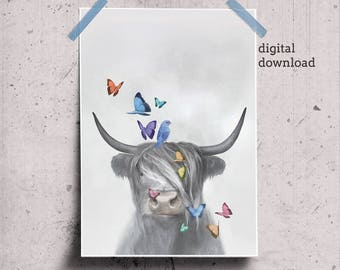 Scottish Cow Art, Highland Cow Print, Modern Farmhouse Wall Art, Farm Animal Poster Printable Cow Artwork, Flying Butterflies & Hairy Cow