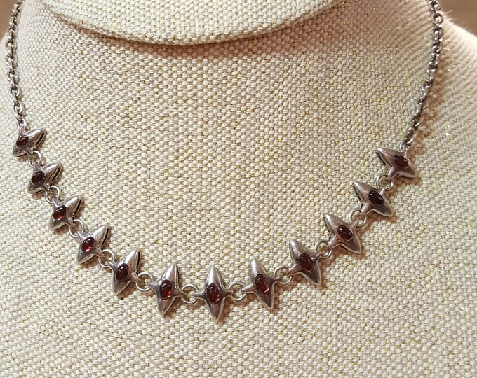 Vintage Solid Sterling Silver Danish Modern Necklace Garnets Amber