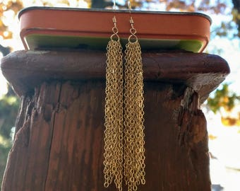 Gold-Filled Long Tassel Earrings