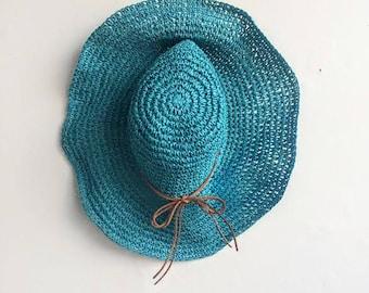 Floppy Straw Sun Hat With Suede Bow // Floppy Beach Hat // Blue Sun Hat // Teal Beach Hat