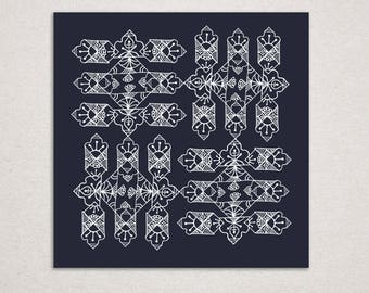 Ink Black and White Pattern Print
