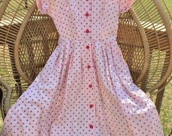 1950's Vintage Pink Polkadot Summer Button Front Dress by Kerrybrooke Sears & Roebuck