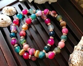 8mm Multicolor Banded Agate Yoga Mala Beaded Bracelet. Healing Natural Gemstone Bracelet. Stretch Bracelet. Good Luck Bracelet.