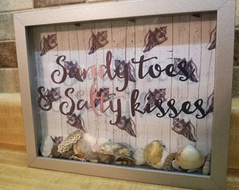 Sandy Toes & Salty Kisses, Shadow Box with Sea Shells. Beach Sign.