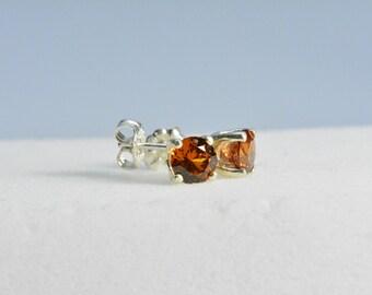 Spessartite garnet Earrings - AAA, Sterling Silver,6mm round,spessartite Garnet,valentine,Orange earrings,Garnet,January birthstone