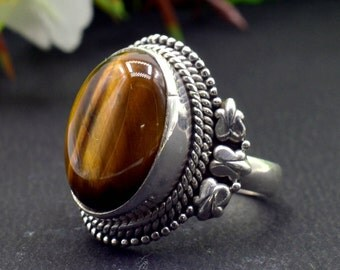 Natural Tiger's Eye Oval Gemstone Ring 925 Sterling Silver R35