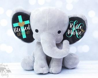 Baby Girl's Baptism Gift,  Keepsake Elephant, Christening Gift, Monogrammed Elephant, Blessed Gift, Confirmation Gift, Personalized Elephant