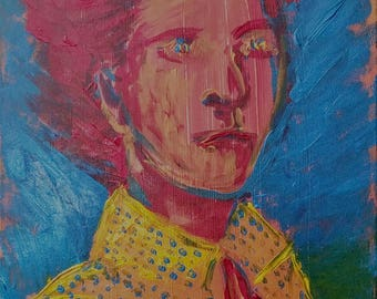 Leonora 2, portrait, acrylic, woman, surrealist, abstract, minimalist, light, blue, red, giclee print, fine art, decor