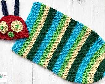 caterpillar hat and cocoon, crochet caterpillar outfit, caterpillar cocoon, caterpillar photo prop, very hungry caterpillar, newborn cocoon