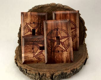 Western Wood with Texas Star Country Light Switch Cover