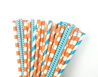 Orange and Blue Paper Straws - Orange and Blue Drinking Straws - Orange & Blue Party Birthday Decorations - Orange and Blue Shower Decor