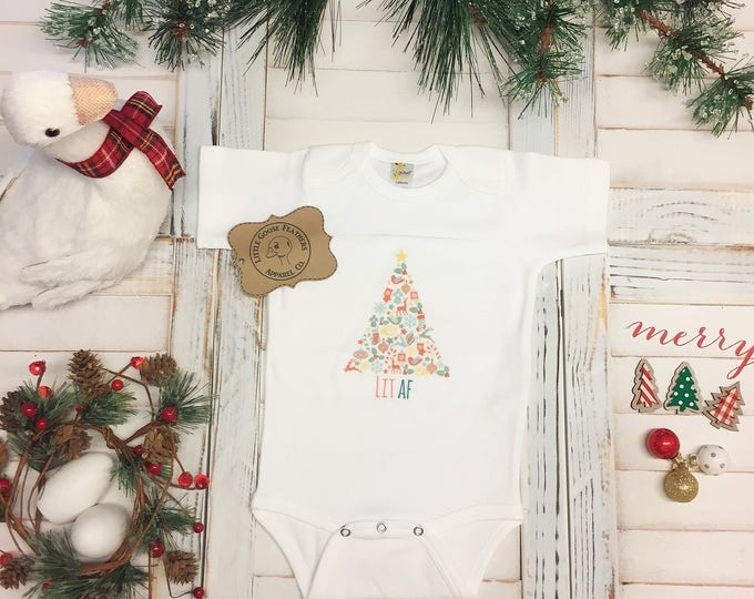 Featured listing image: Its Lit, Its Lit Shirt, Lit AF, Christmas Outfit, Baby Christmas Pjs, Christmas Tree, Christmas Pajamas, Baby Pjs, Onesies Pajamas