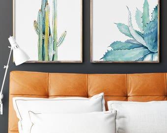 Watercolor Cactus Aloe Vera Set of 2 Prints, Watercolor Painting, Leaves Drawing, Plant Illustration, Green Blue Yellow Minimalist Wall Art