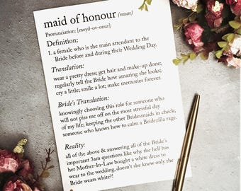 Funny Maid Of Honour Card, Maid Of Honour Card, Be My Maid Of Honour Card, Bridesmaid Card, Be My Bridesmaid Card, Funny Wedding Card