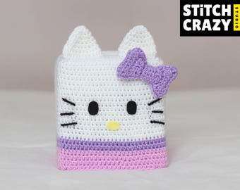 Crochet Hello Kitty Tissue Box Cover, ハロー・キテ, Sanrio, Kawaii, House warming gift, Home decor, Hello Kitty, Cute, Toy