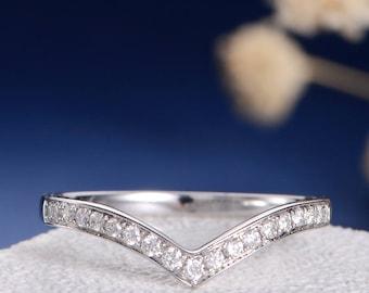 Diamond Chevron Ring Wedding Band Women White Gold Wedding Matching Pave V Shaped Half Eternity Anniversary Promise Wedding Bridal Ring Set