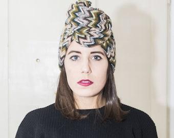 Headband/turban/headband wool thick handmade green striped Maxmara fabric